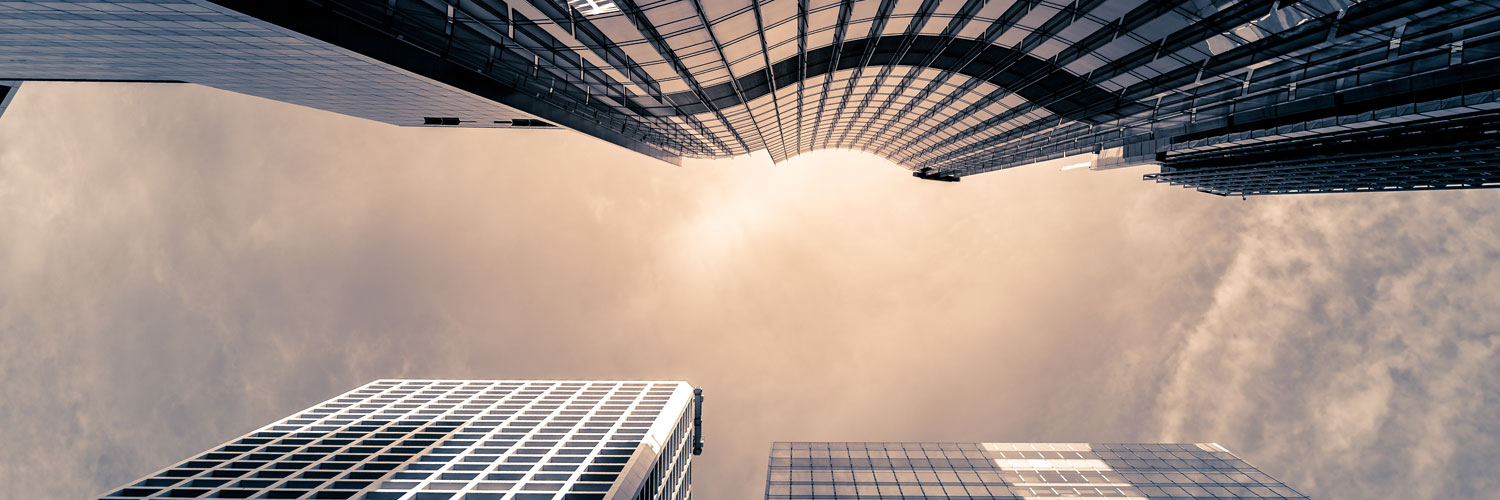high rise office building with ant view perspective